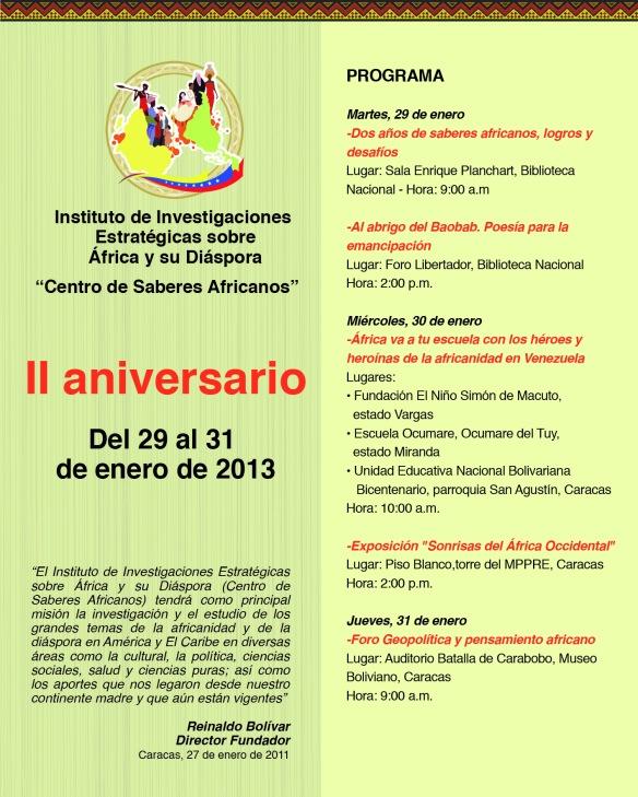 Programación II aniversario del Centro de Saberes Africanos