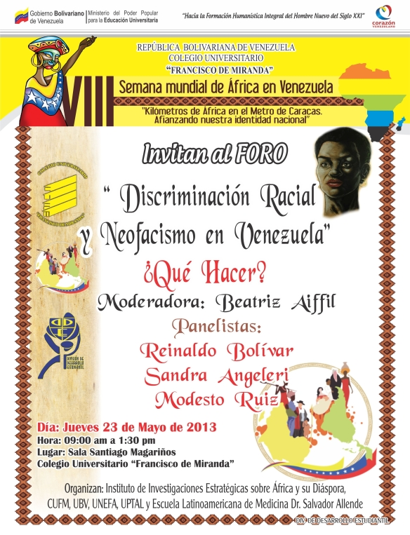Foro Discvriminación racial y neofacismo en Venezuela en el marco de la VIII Semana Mundial de  África
