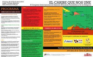 Progrmama del II Congreso Internacional de Saberes Africanos Caribeños y de la Diaspora