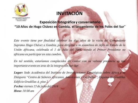 Invitación 10 años de Hugo Chávez en Gambia